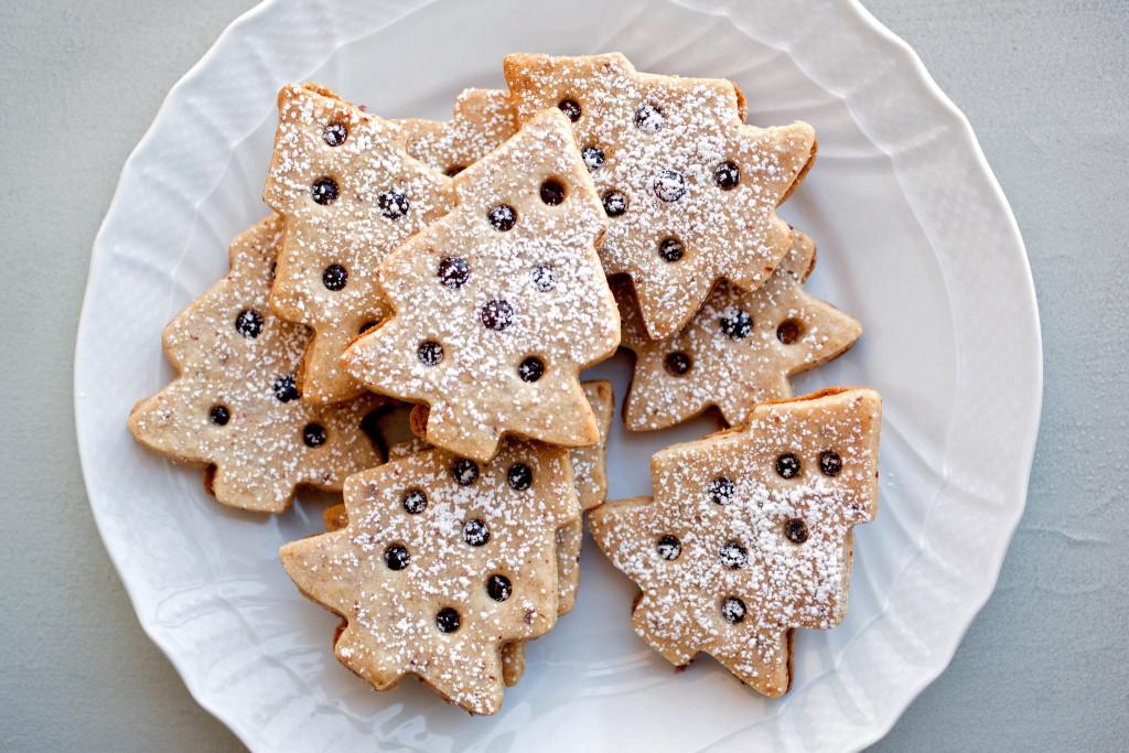 Linzer-Style Tree Cookies