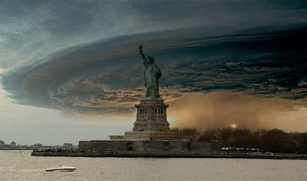 Statue of Liberty in Hurricane Sandy