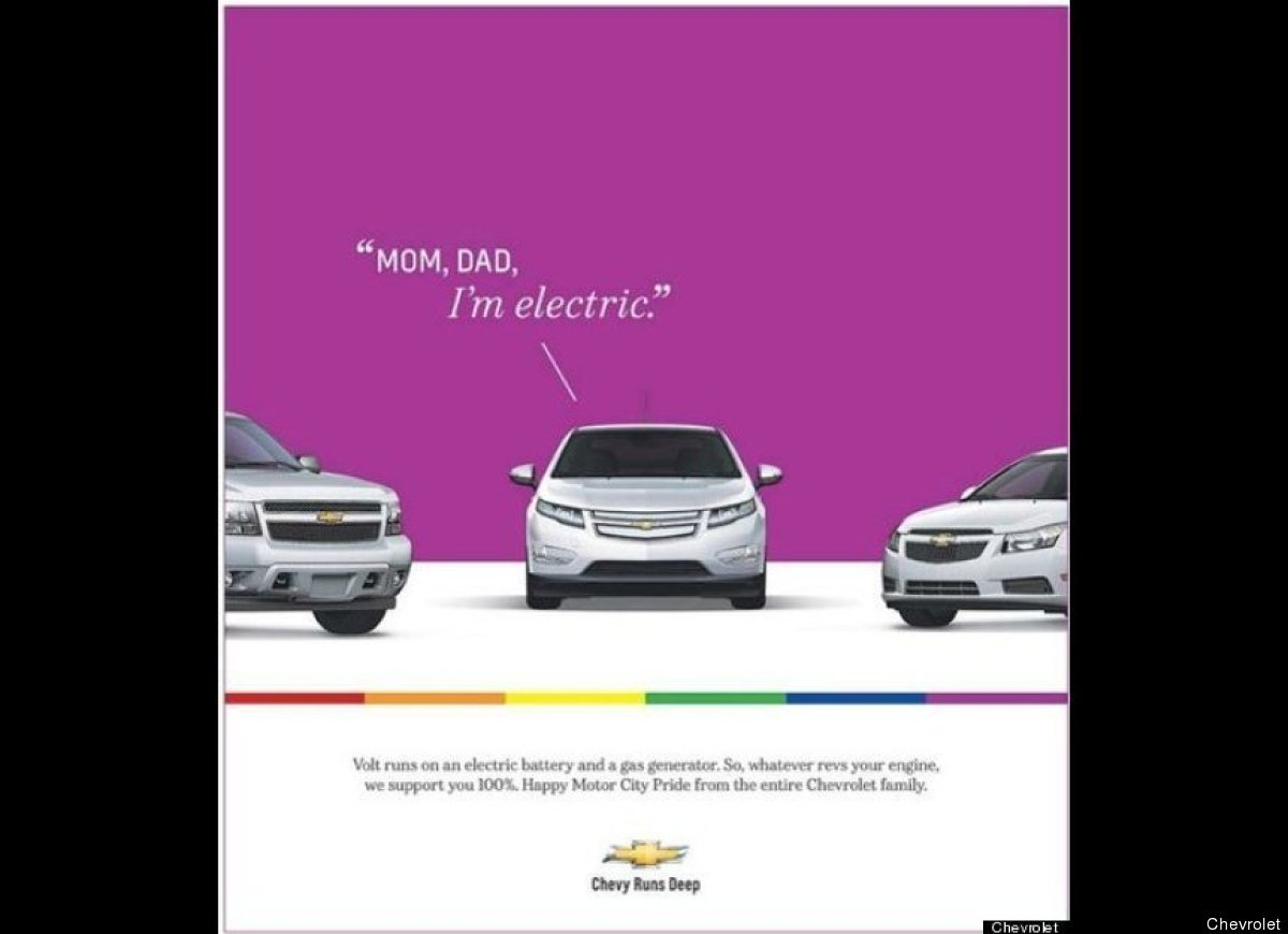 13. 2012-chevy-volt-mom-dad-im-electric-a-major-supporter-of-pride-week-general-motors-released-this-ad-in-celebration-of-motor-city-pride-weekend-in-detroit