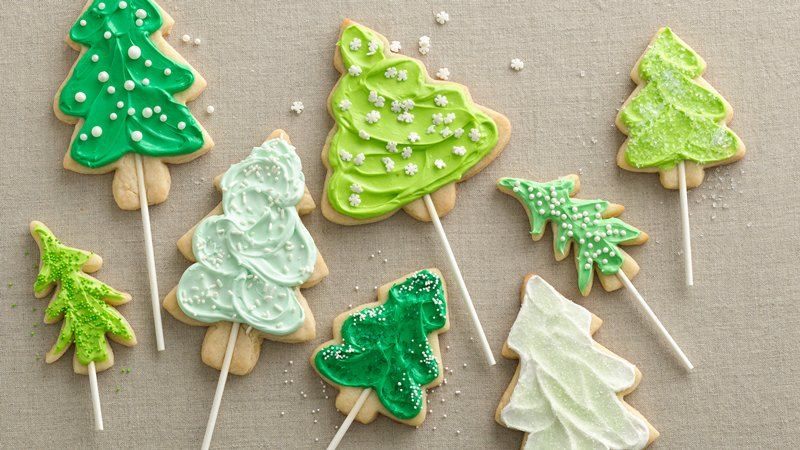 Christmas Tree Cookies with Sprinkles